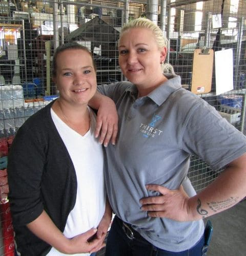Carrie Shimmon and Chantel Barnard in Thirst Bar Services Warehouse